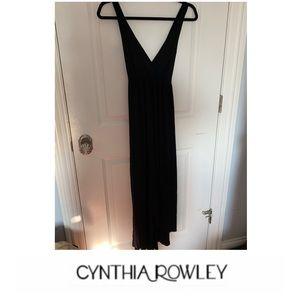 Cynthia Rowley Black Cross Strap Maxi Dress